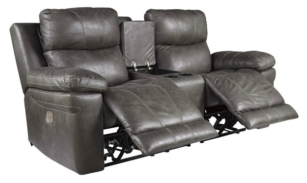 Ashley Furniture Erlangen Midnight Power Reclining Loveseat With Console And Adjustable Headrest 3000418