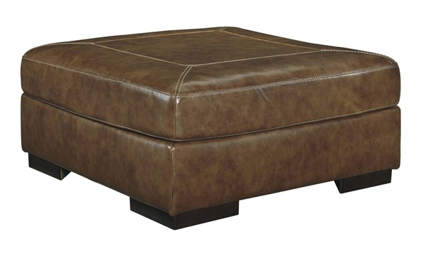 Vincenzo Contemporary Nutmeg Leather Oversized Accent Ottoman 3040108