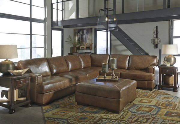 Vincenzo Nutmeg Leather Solid Wood Sectional W/LAF Loveseat & Ottoman 30401-SEC8