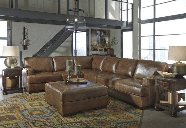 Vincenzo Nutmeg Leather Solid Wood Sectionals W/Loveseat & Ottoman 30401-SEC-VAR4
