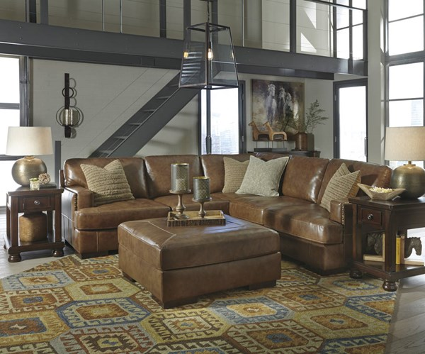 Vincenzo Nutmeg Leather Solid Wood Sectional W/LAF Sofa & Ottoman 30401-SEC2