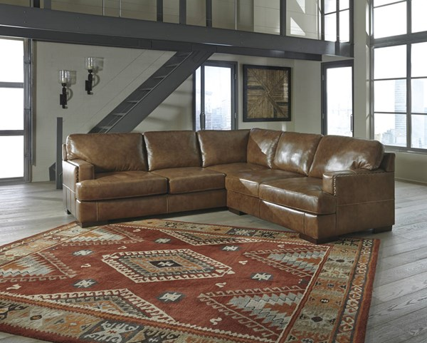 Vincenzo Contemporary Nutmeg Leather Solid Wood Sectionals W/Sofa 30401-SEC-VAR1