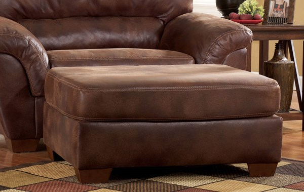 Frontier Casual Canyon Faux Leather Wood Ottoman 3090014