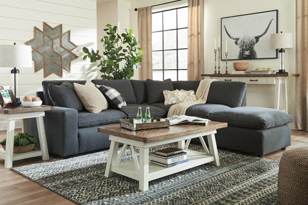 Ashley Furniture Savesto Charcoal Sectionals With Ottoman 31104-SEC-VAR3