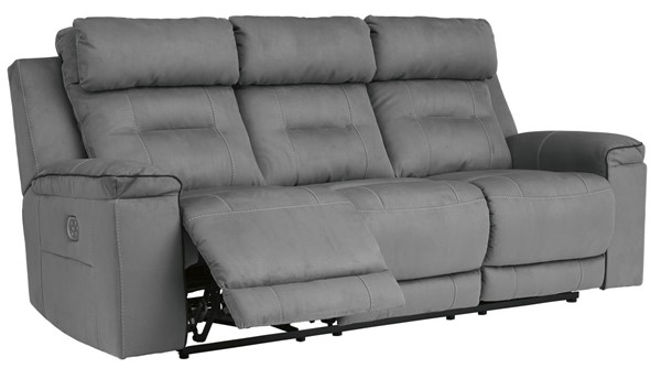 Ashley Furniture Trampton Smoke Power Reclining Sofa With Adjustable Headrest 3130315