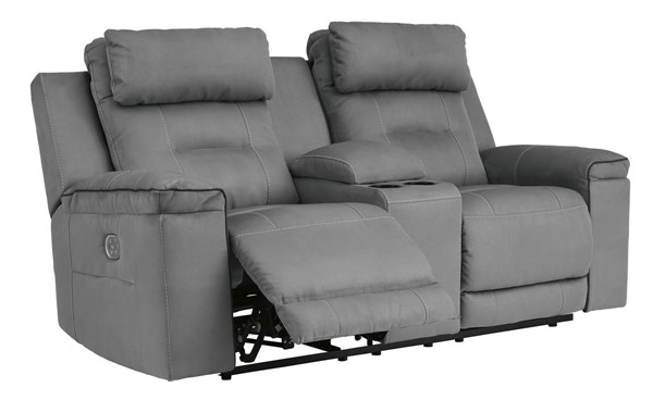 Ashley Furniture Trampton Smoke Power Reclining Loveseat With Console And Adjustable Headrest 3130318