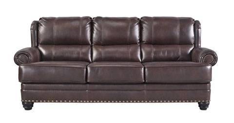 Glengary Traditional Chestnut Leather Sofa 3170038