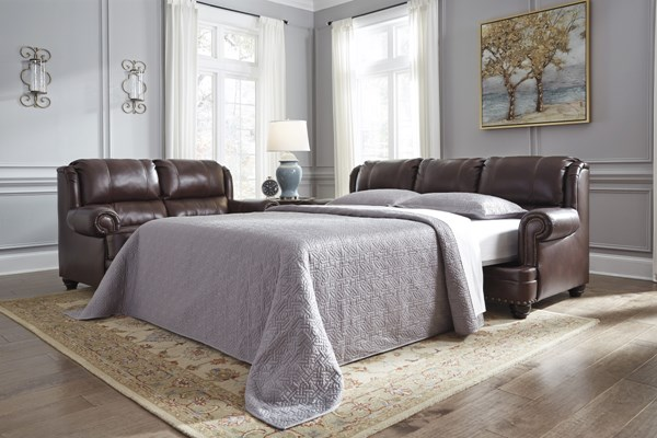 Glengary Traditional Chestnut Leather Queen Sofa Sleeper 3170039