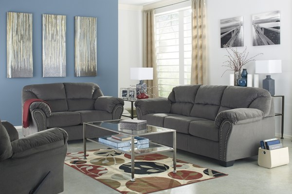 Kinlock Contemporary Charcoal Fabric 3pc Living Room Set 33400-LR-CH-S1
