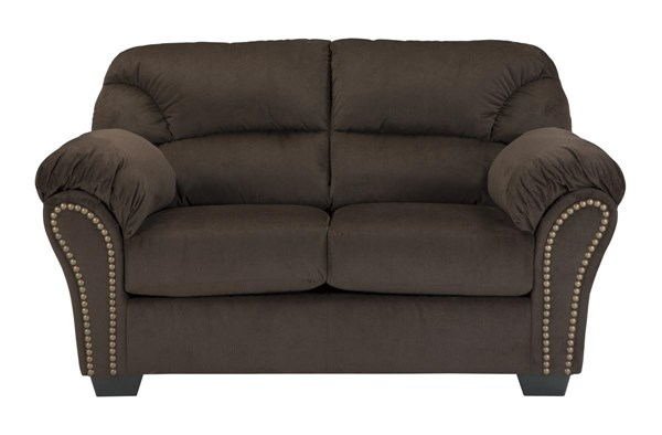 Kinlock Contemporary Chocolate Pillow Top Arms & Cushion Back Loveseat 3340135