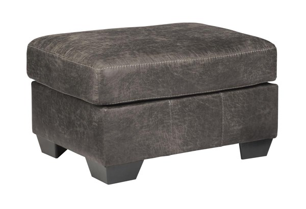 Havilyn Contemporary Charcoal Fabric Ottoman 3370514