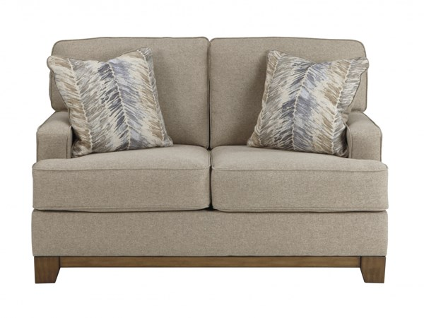 Hillsway Traditional Pebble Fabric Solid Wood Loveseat 3410435