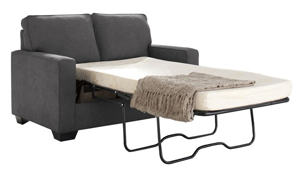 Zeb Contemporary Charcoal Fabric Wood Twin Sofa Sleeper 3590137