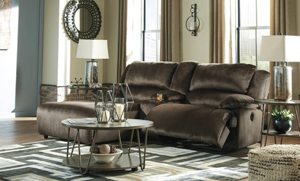 Ashley Furniture Clonmel Chocolate 3pc LAF Sectional With Console 36504-SEC16