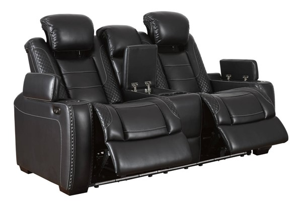 Ashley Furniture Party Time Midnight Power Reclining Loveseat With Console And Adjustable Headrests 3700-LS-VAR