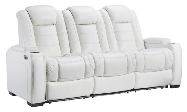 Ashley Furniture Party Time White Power Reclining Sofa With Adjustable Headrest 3700415