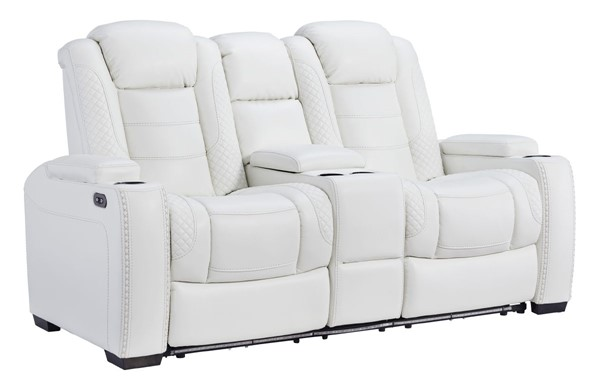 Ashley Furniture Party Time White Power Reclining Loveseat With Console And Adjustable Headrest 3700418