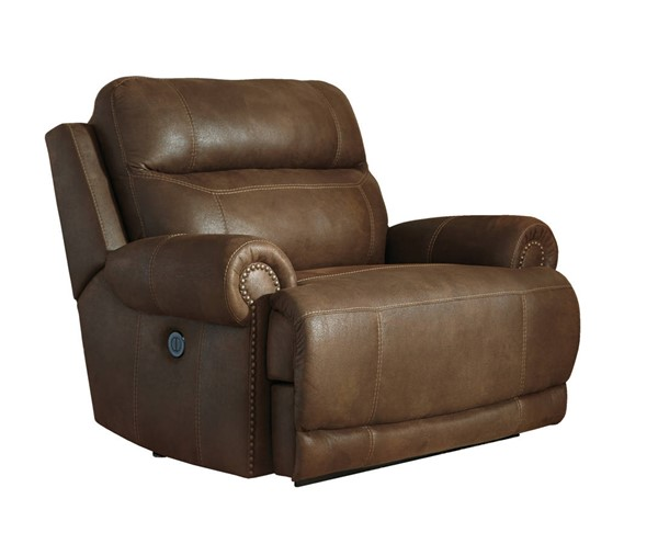 Austere Contemporary Brown Zero Wall Power Wide Recliner 3840082