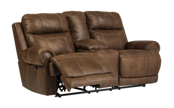 Austere Contemporary Brown Double Reclining Power Loveseat W/Console 3840096