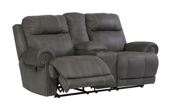 Austere Contemporary Gray DBL REC PWR Loveseat w/Console 3840196