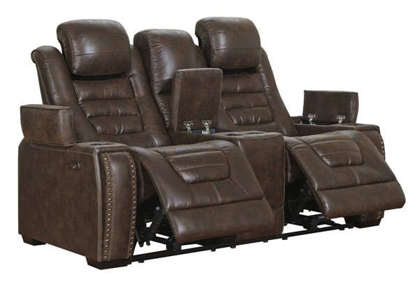 Ashley Furniture Game Zone Bark Power Reclining Loveseat With Console And Adjustable Headrest 3850118