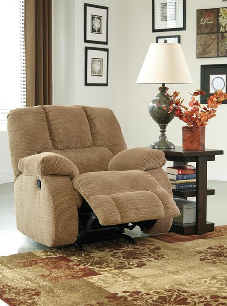 Roan Contemporary Mocha Pillow Top Arms & Cushion Back Rocker Recliner 3860225