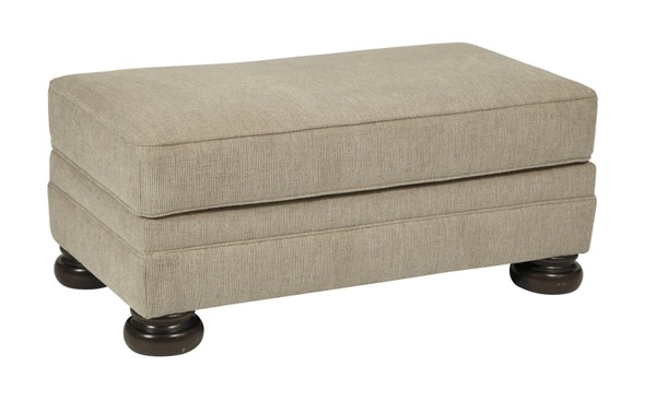 Quarry Hill Traditional Quartz Fabric Solid Wood Ottoman 3870114