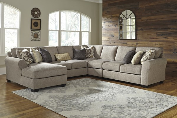 Pantomine Contemporary Driftwood Fabric Sectional W/LAF Chaise 39102-SEC-S1