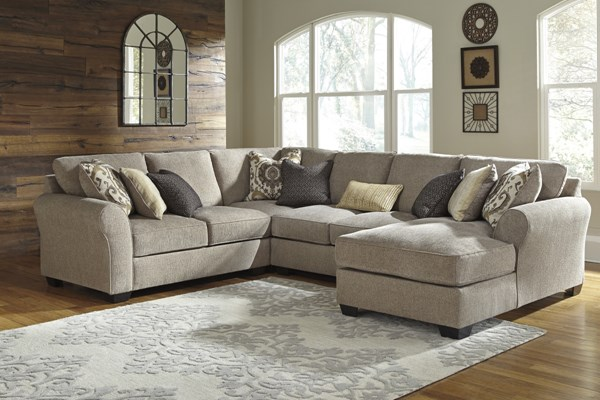 Pantomine Contemporary Driftwood Fabric Sectional W/LAF Loveseat 39102-SEC-S3