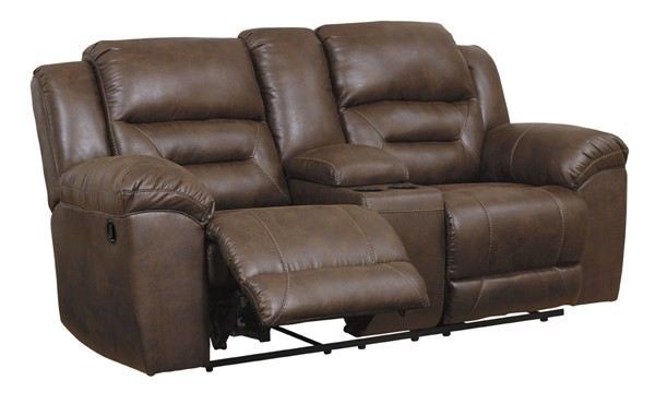 Ashley Furniture Stoneland Chocolate Double Recliner Loveseat With Console 3990494
