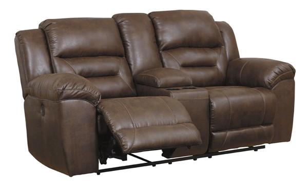 Ashley Furniture Stoneland Chocolate Double Recliner Power Loveseat With Console 3990496