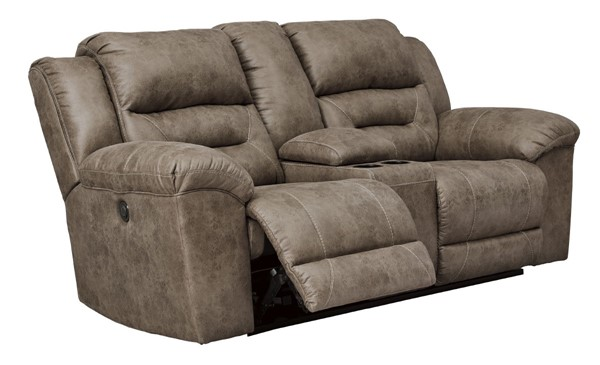 Ashley Furniture Stoneland Fossil Double Recliner Power Loveseat With Console 3990596