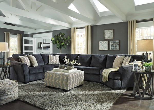 Ashley Furniture Eltmann Slate 5pc Raf Cuddler Sectional