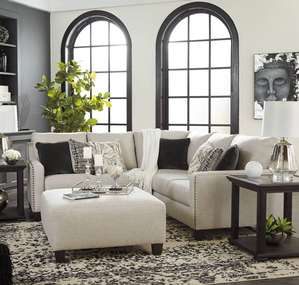 Ashley Furniture Hallenberg Fog 3pc LAF Sectional With Ottoman 41501-SEC6