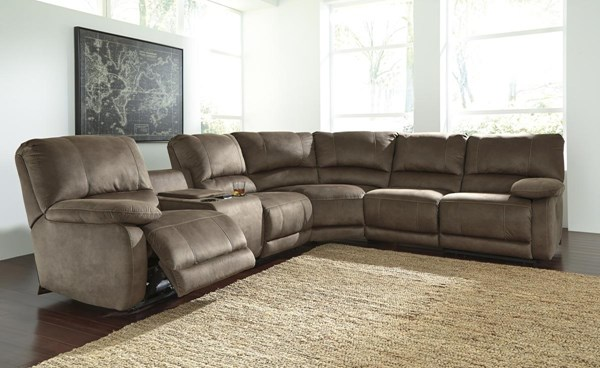 Seamus Contemporary Taupe LAF Double Reclining Power Console Loveseat 4180001