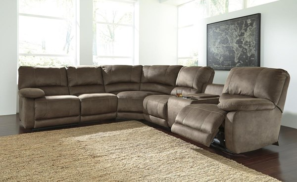 Seamus Contemporary Taupe RAF Double Reclining Power Console Loveseat 4180090