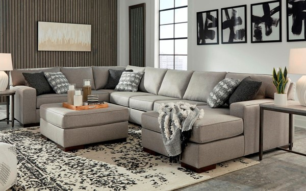 Ashley Furniture Marsing Nuvella Slate 5pc Sectional With Ottomans 41902-SEC6-08-VAR