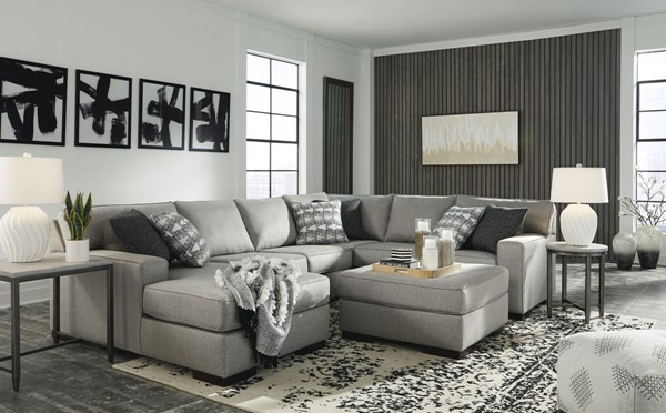 Ashley Furniture Marsing Nuvella Slate 4pc Sectional With Ottomans 41902-SEC-08-VAR