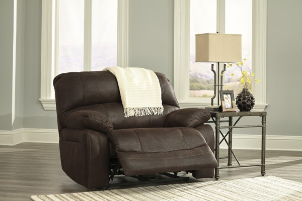 Zavier Contemporary Truffle Fabric Wide Seat Recliner 4290152