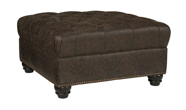 Ilena Traditional Sandstone Fabric Solid Wood Oversized Accent Ottoman 4330308