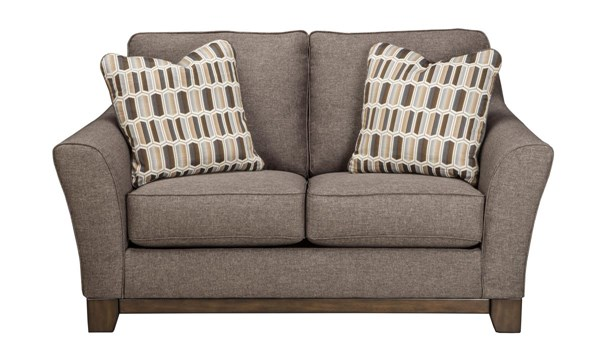 Janley Contemporary Gray Brown Wood Fabric Loveseat 4380435