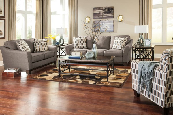 Janley Contemporary Gray Brown Wood Fabric 3pc Living Room Set 43804-LR-S1