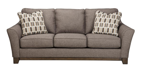 Janley Contemporary Gray Brown Wood Fabric Sofa 4380438