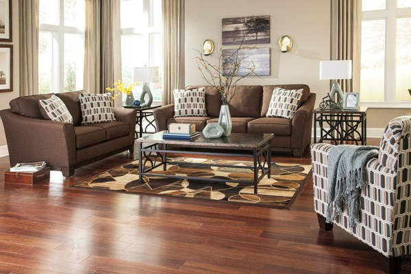 Janley Contemporary Gray Brown Wood Fabric Living Room Set 4380-LR