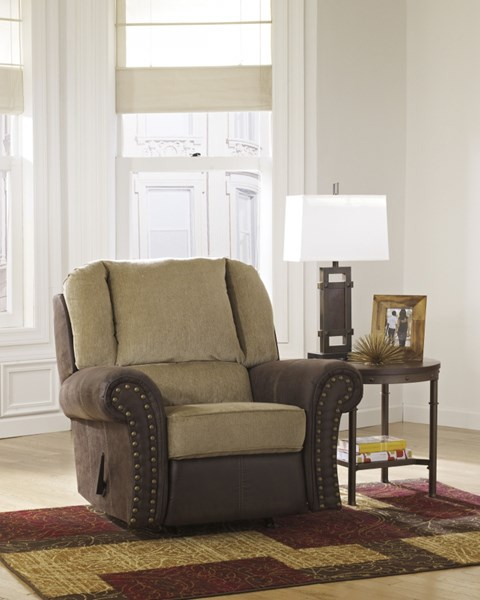 Vandive Contemporary Sand Fabric Rocker Recliner 4430025