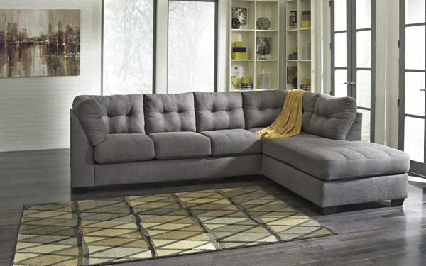 Maier Contemporary Charcoal Fabric Sectional W/RAF Chaise 45200-SEC2