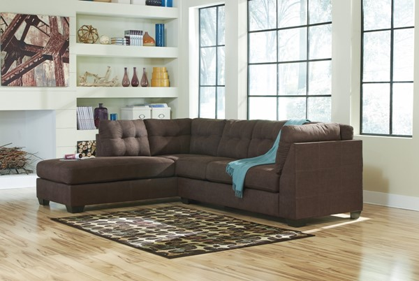 Maier Contemporary Walnut Fabric Sectional W/LAF Chaise 45201-SEC1