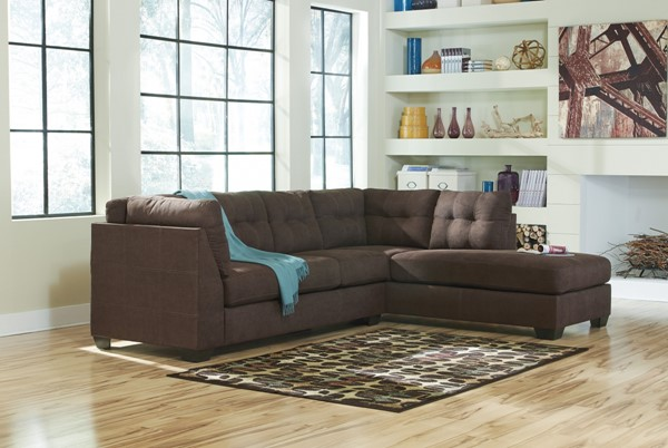 Maier Contemporary Walnut Fabric Sectional W/RAF Chaise 45201-SEC2