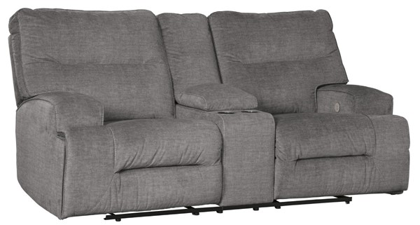 Ashley Furniture Coombs Charcoal Double Reclining Power Loveseat With Console 4530296