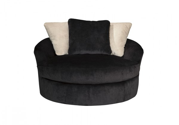 Heflin Contemporary Ebony Fabric Oversized Swivel Accent